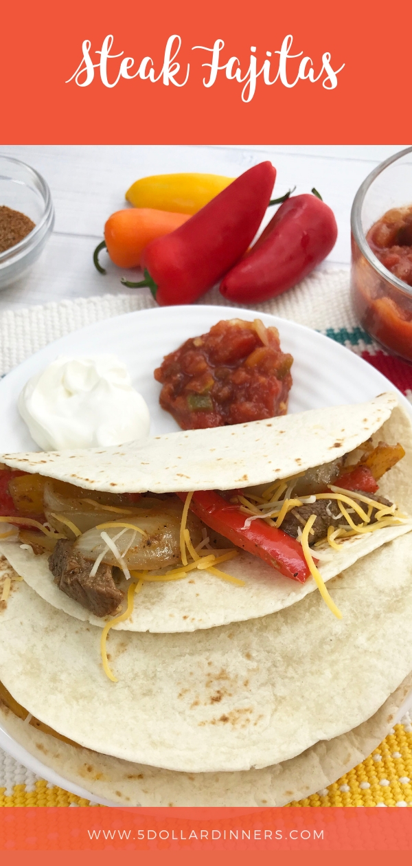 Forget eating out at your favorite Mexican restaurant and make your own Steak Fajitas at home. Find all the goodness at 5DollarDinners.Com!