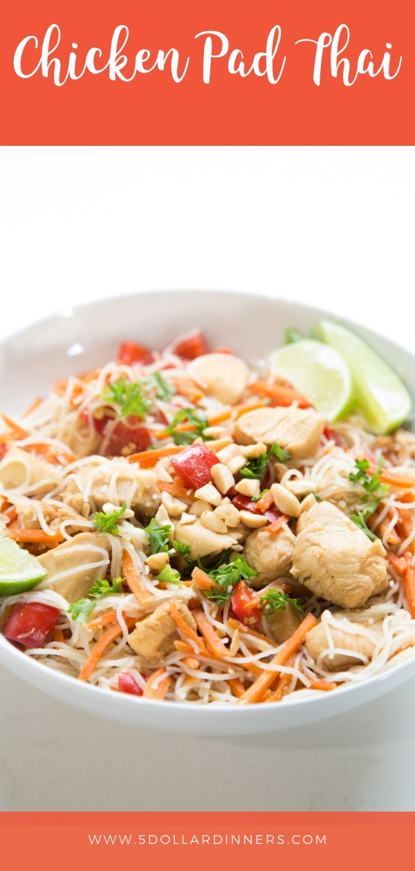 In just 30 minutes you could be whisked away abroad with this delicious Chicken Pad Thai recipe. Find it all on 5DollarDinners.Com