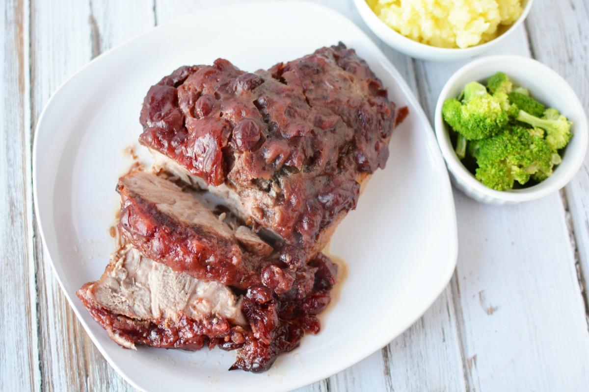 Amazing Instant Pot recipe for Cranberry-Mustard Pork Roast!