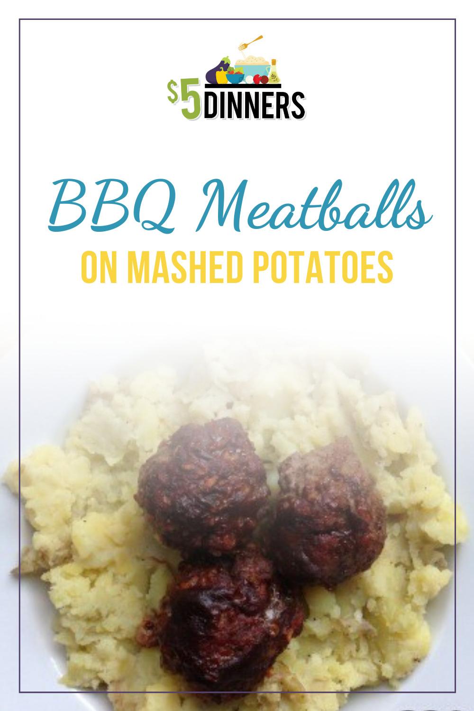 bbq meatballs on mashed potatoes