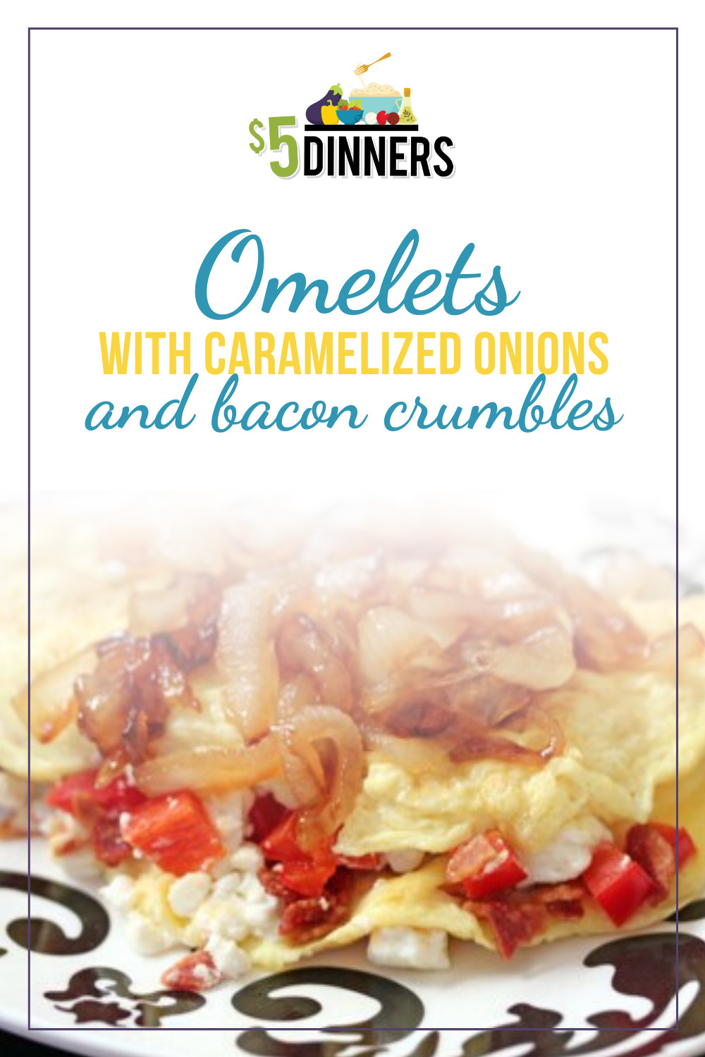 omelets with caramelized onions and bacon crumbles recipe