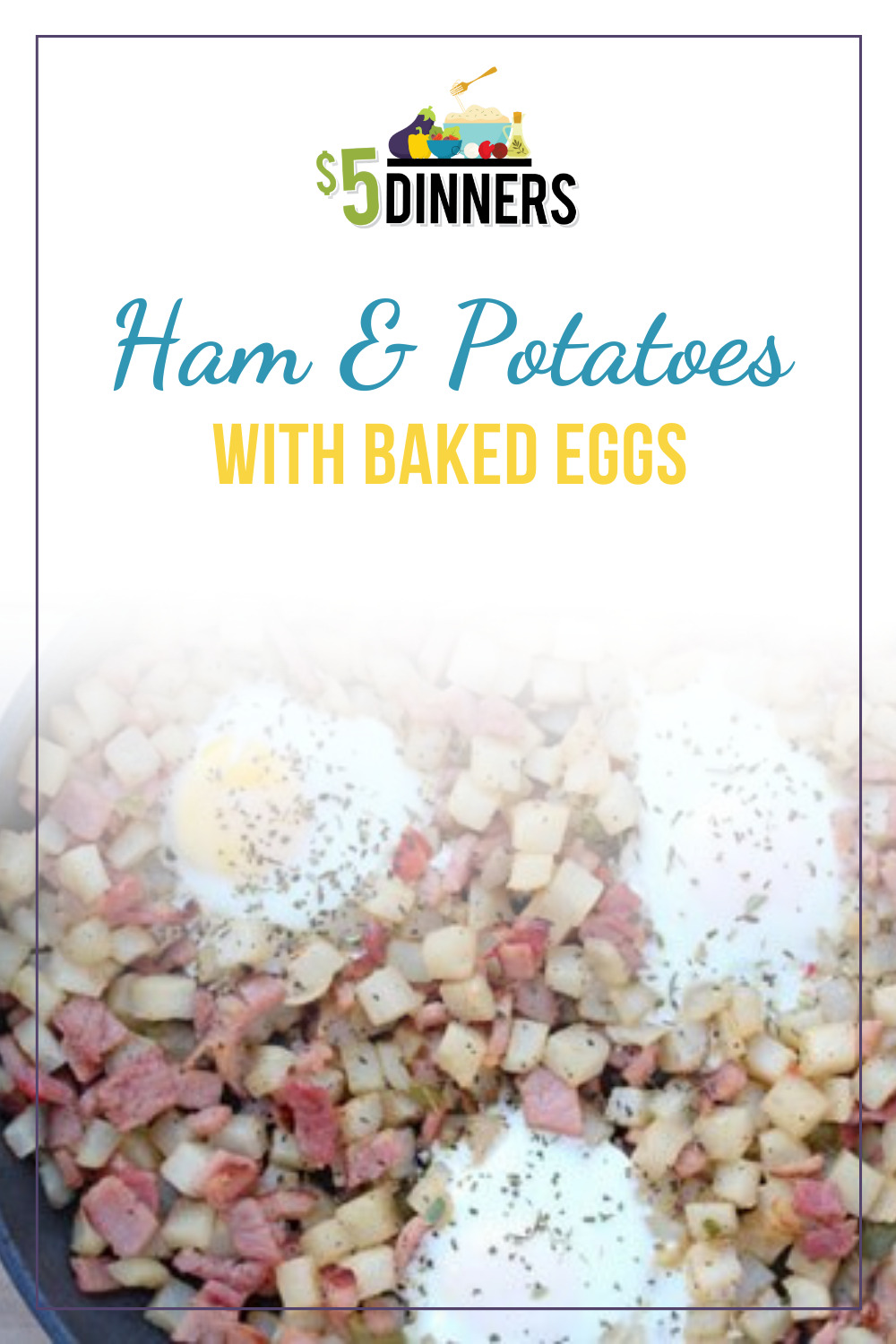 ham & potatoes with baked eggs