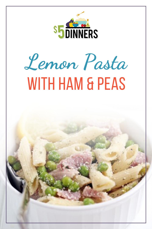 lemon pasta with ham and peas