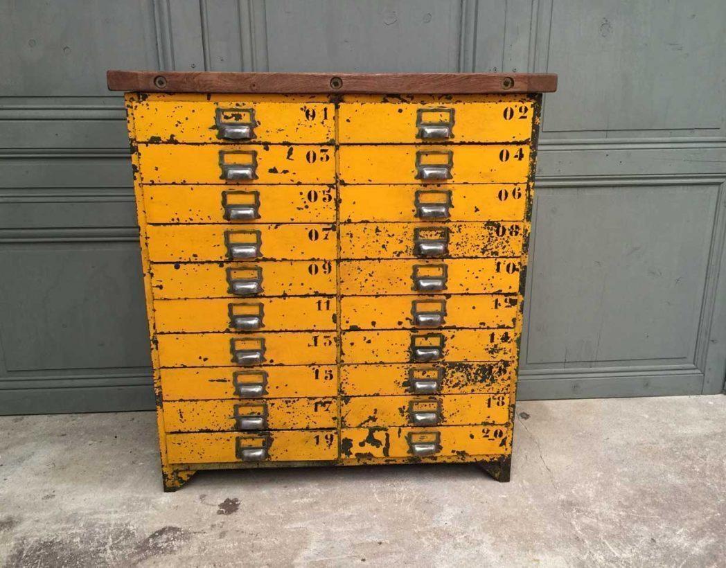 meuble de metier en metal 20 tiroirs