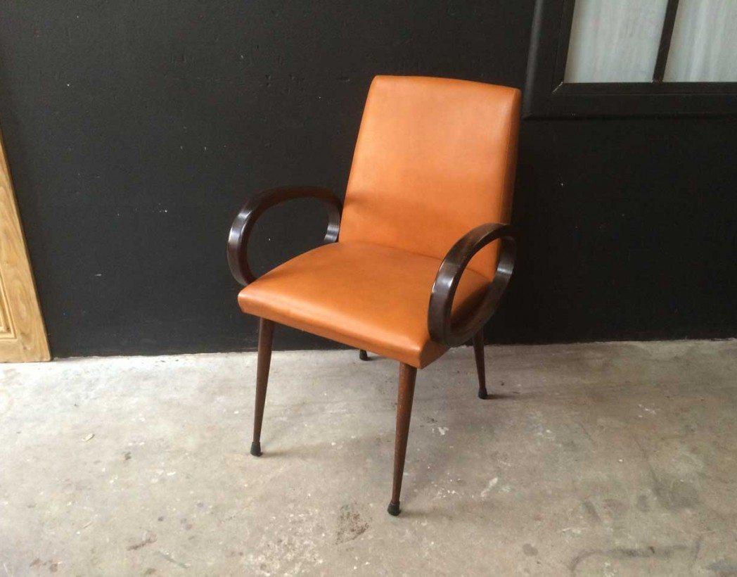 fauteuil vintage accoudoir bois