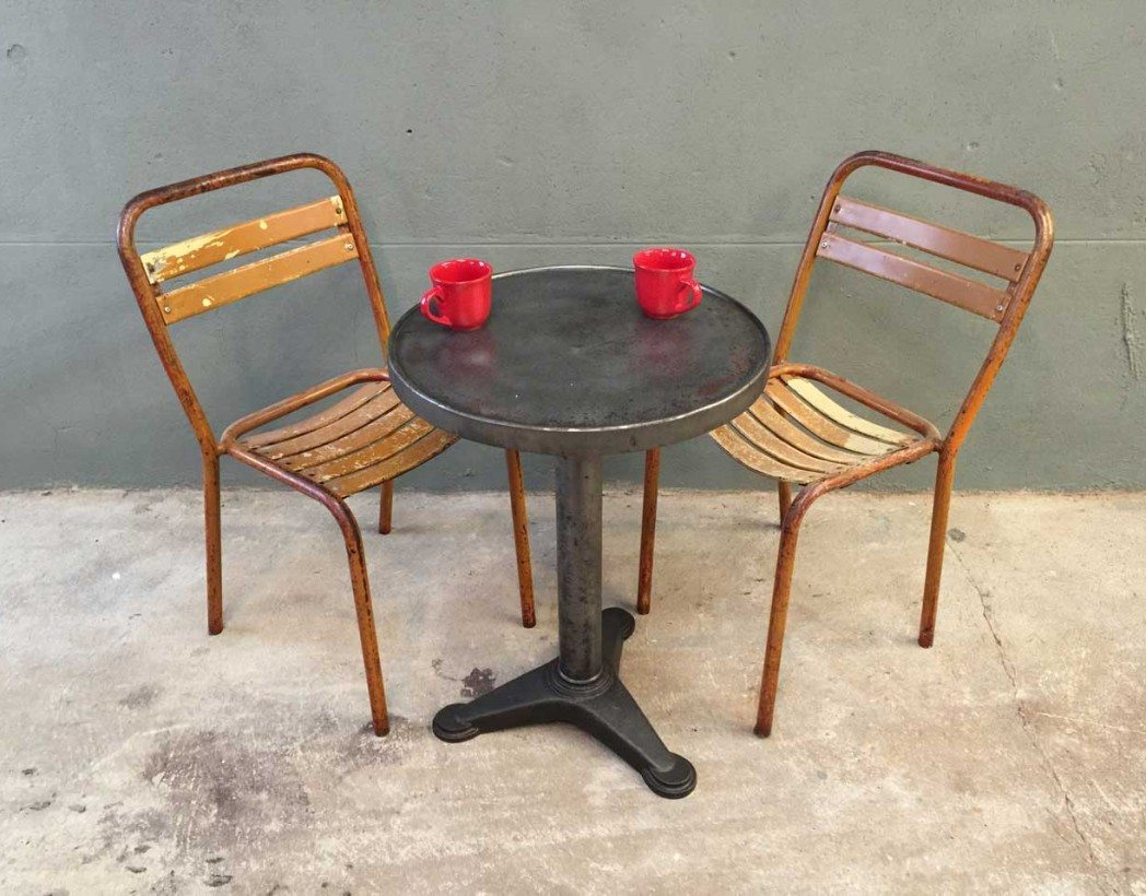 paire chaises bistrot metal style tolix