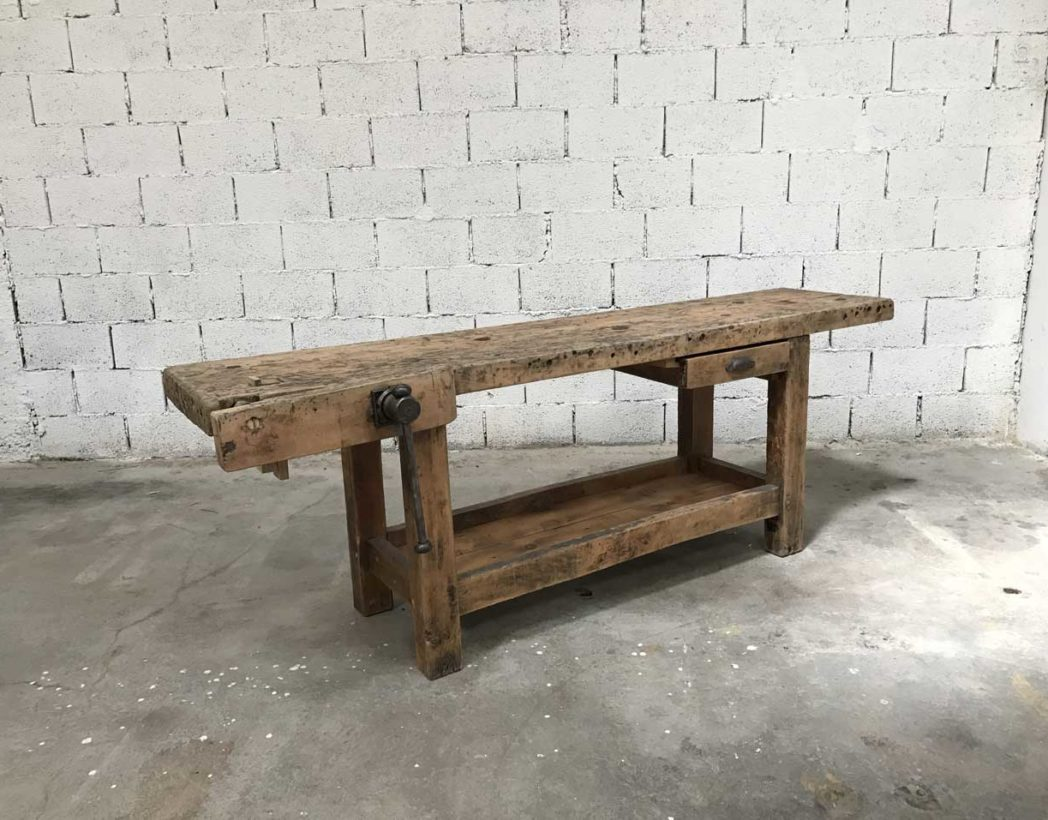 ancien etabli de menuisier bois brut