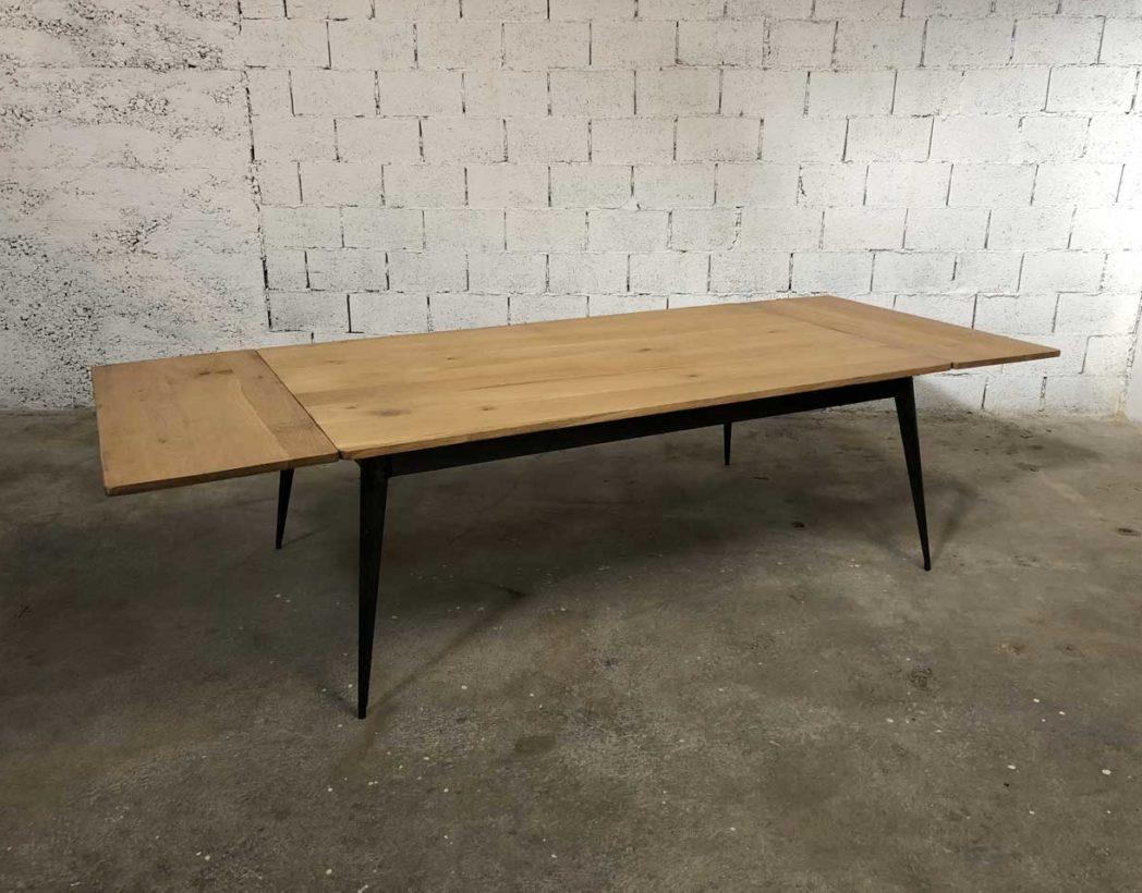 table en chene et pied compas metal tolix revisite avec rallonges