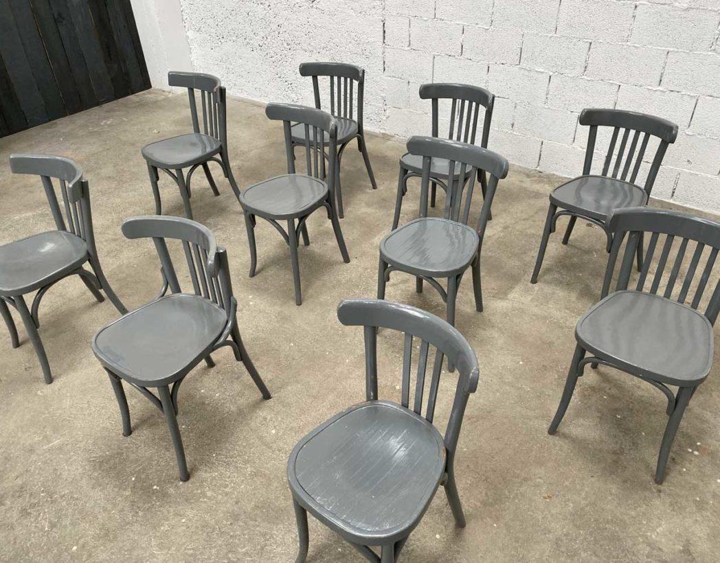 ensemble de 50 chaises bistrot baumann patine grise
