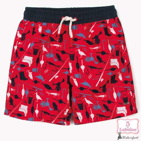 Bañador de tela niño rojo zippy