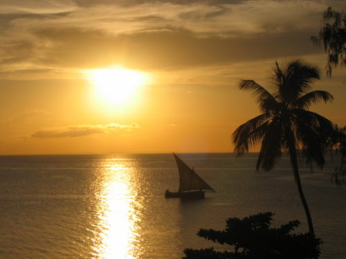 A dhow at sunset