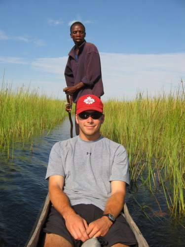 Our guide poling through the delta.