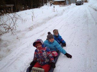 Canada kids on sled