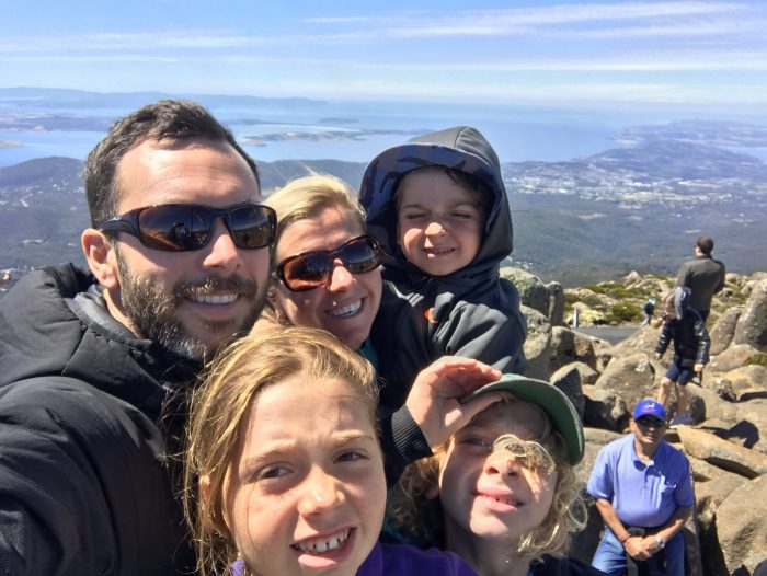 Family shot Mt Wellington summit