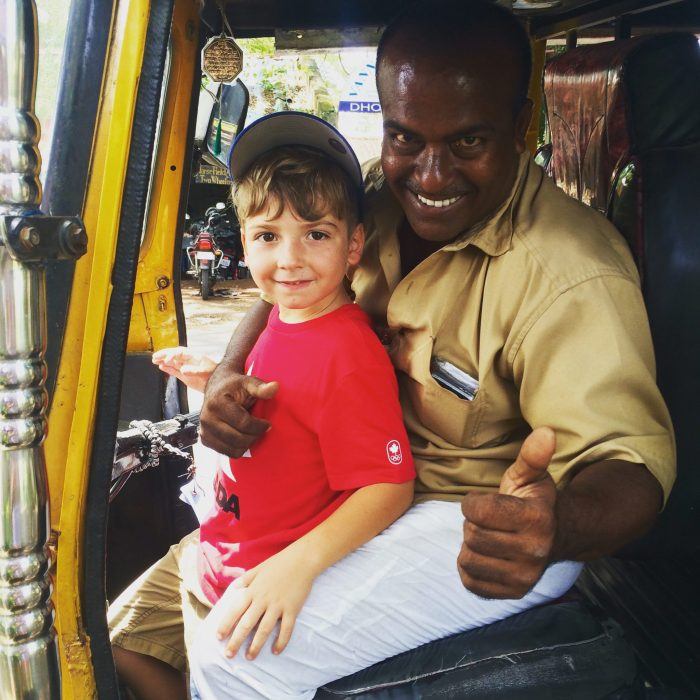 Rickshaws in In India with kids