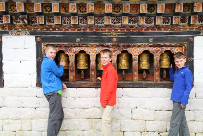 Spinning prayer wheels in Bhutan