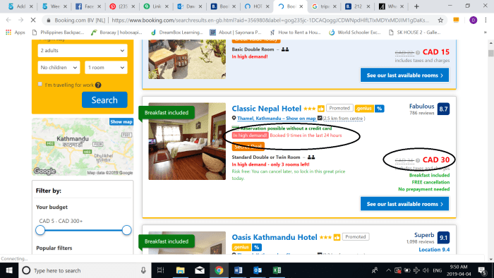 Booking Accommodations Colors And Prices