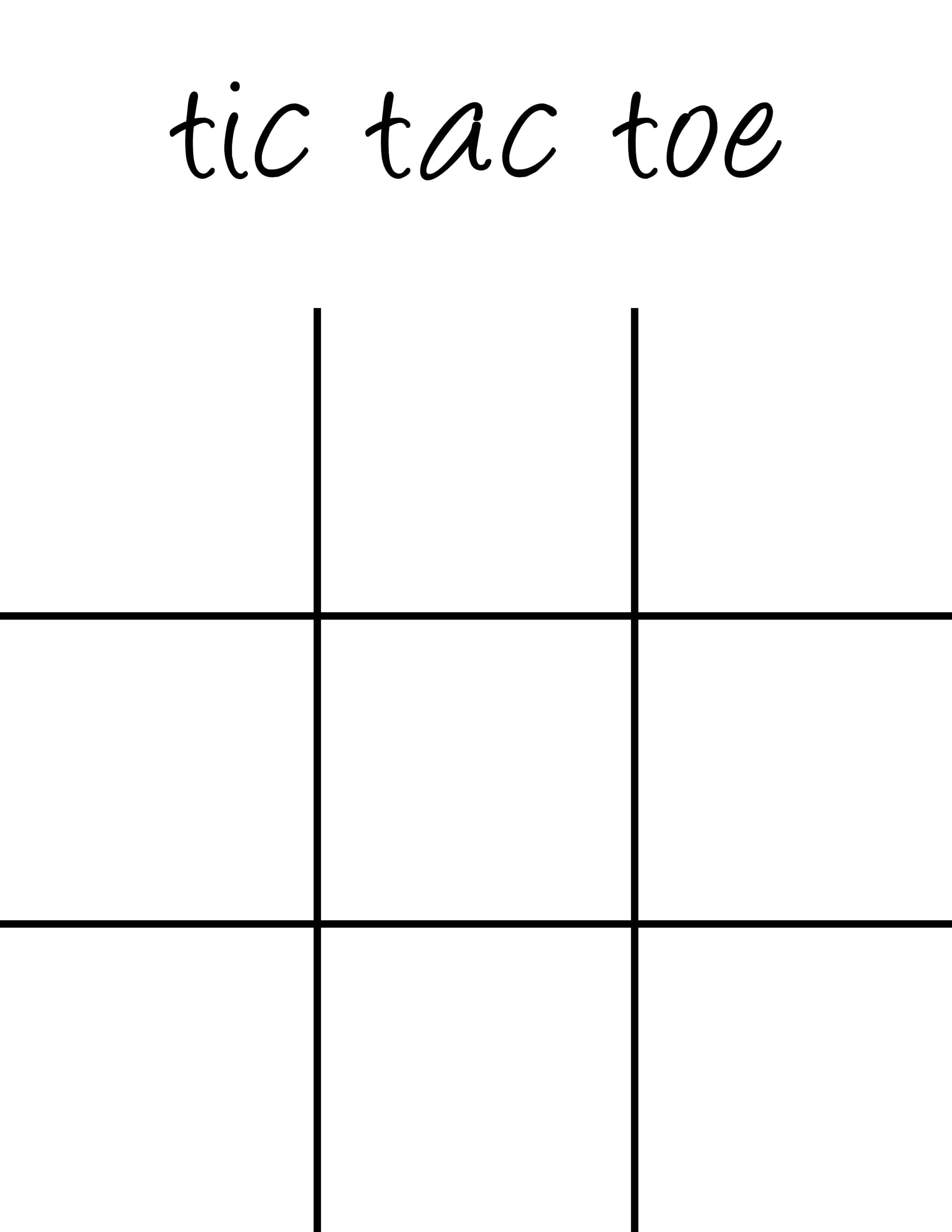 Tic Tac Toe Board Printable