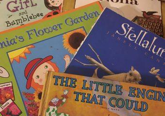 books from wonderful world including Ladybug Girl, Strega Nona, Stellaluna, Salias Flower Garden