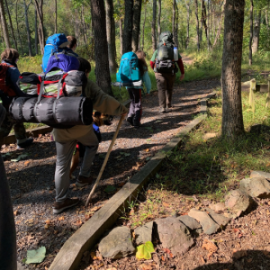 scouts on a backpacking trip
