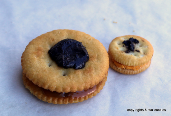 5starcookies ritz and rolo baked with little ritz to be attached using oreo filling