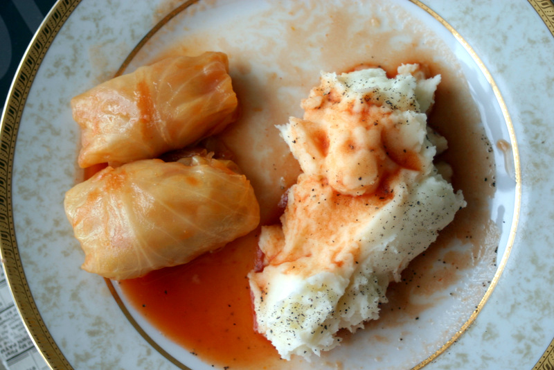 cabbage rolls and mashed potato
