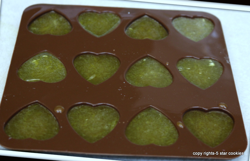 Organic Orange Gummy Hearts from the best food blog 5starcookies - pipe gelatin mixture into molds