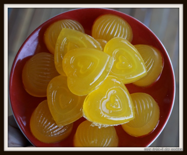 Organic Orange Gummy Hearts from the best food blog 5starcookies-removed from the mold