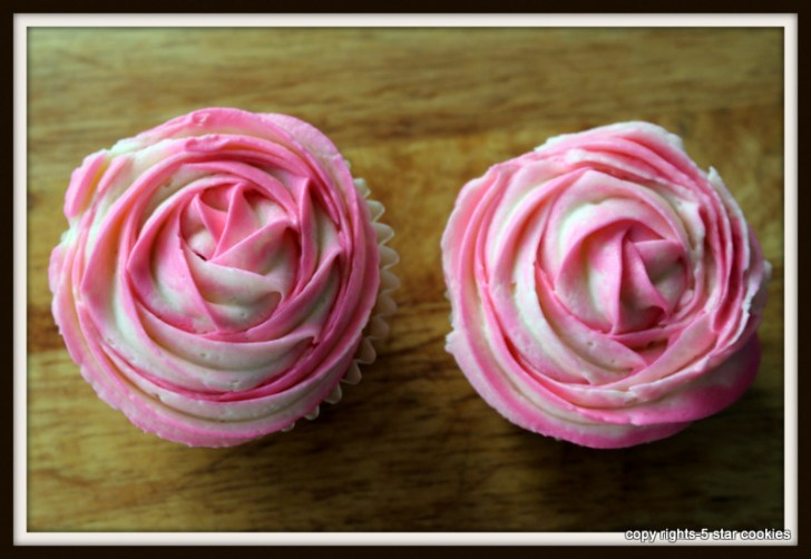 vanilla cupcake and frosting from the best food blog 5starcookies-two cupcakes with two toned frosting