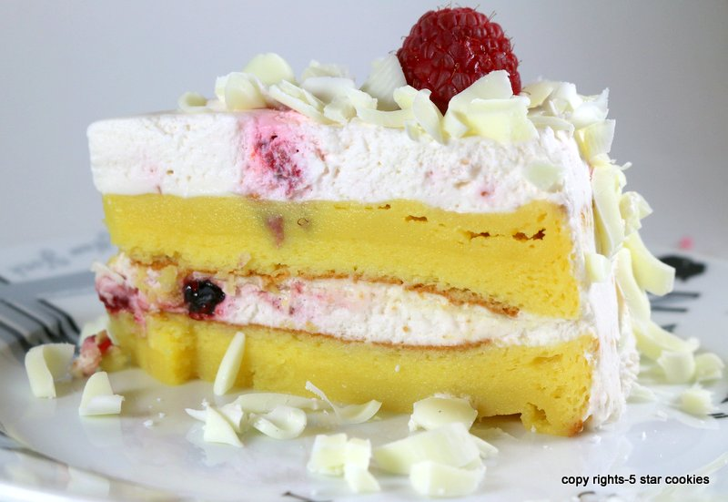 Raspberry White Chocolate Lemon Flourless Torte 5starcookies -cut your piece