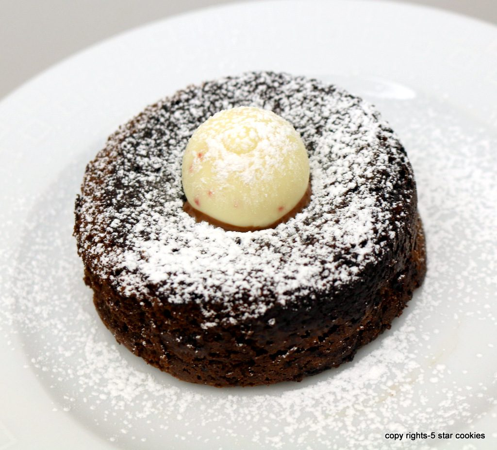Black and white chocolate lava cake from the best food blog 5starcookies-decorate with chocolate truffles