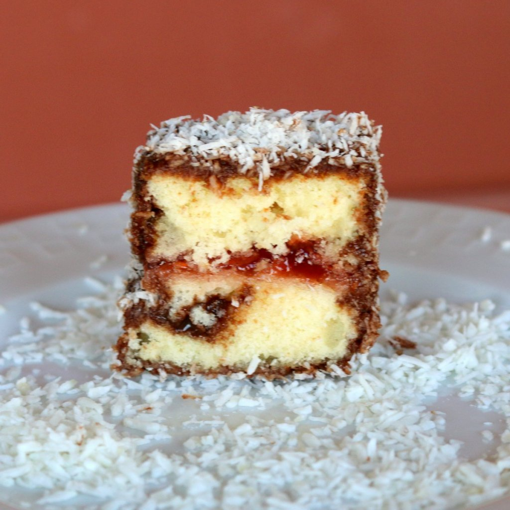 Lamington cake and coconut