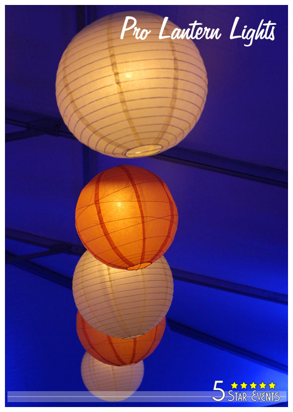 Paper hanging lanterns with blue uplights