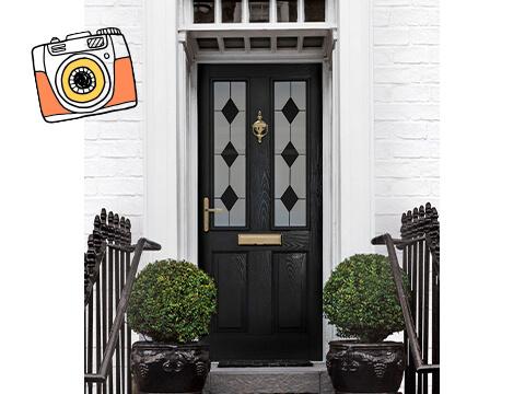 A black front door