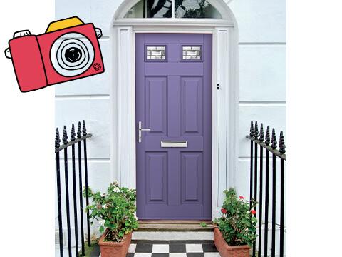A purple front door