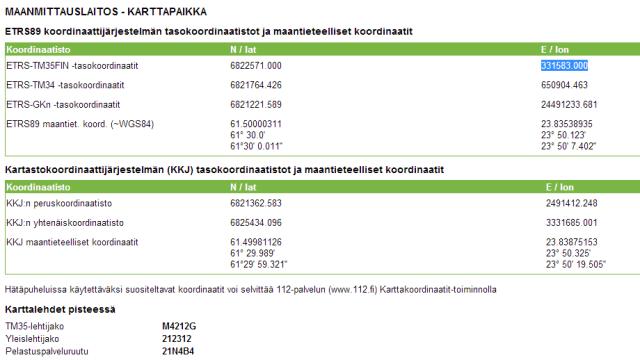Kuva 1 - Kansalaisen karttapaikalla onnistuu koordinaattimuunnoksen Suomessa käytettävien koordinaattijärjestelmien välillä