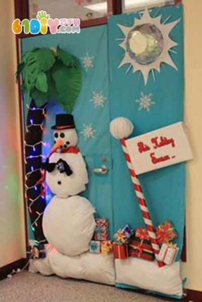 幼儿园圣诞节环创 雪人装饰的门 圣诞节 巧巧手幼儿手工网