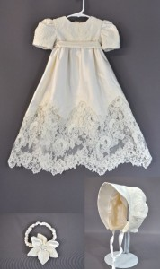 Embroidery from Mom's Wedding Dress Featured on Christening Gown