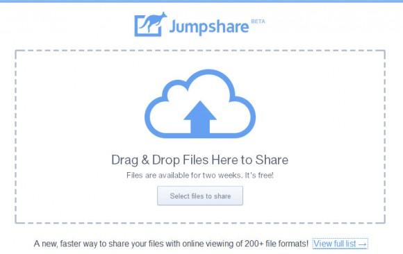 Glissez vos fichiers ici pour les charger sur le serveur JumpShare