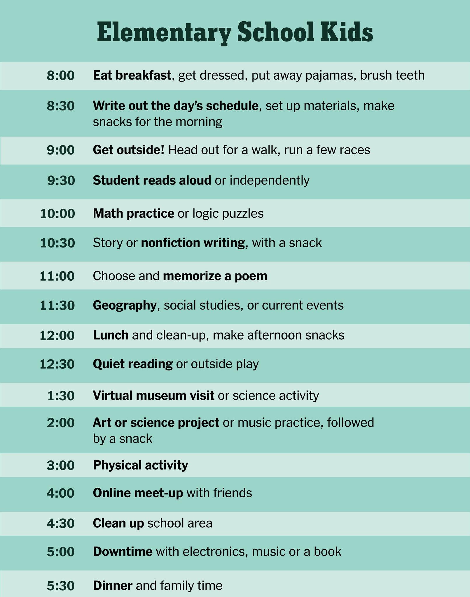Elementary Home Schooling Schedule 1