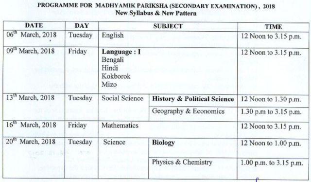 tbse-madhyamik-examination routine 2018