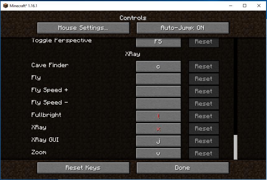 xray mod control keys