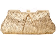 Jessica McClintock - Metallic Straw Bow Clutch (Natural) Clutch Handbags