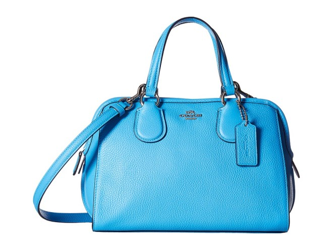COACH - Polished Pebble Leather Mini Nolita Satchel (SV/Azure) Satchel Handbags