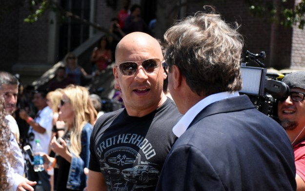 Vin Diesel is greeted by Chick Russell.