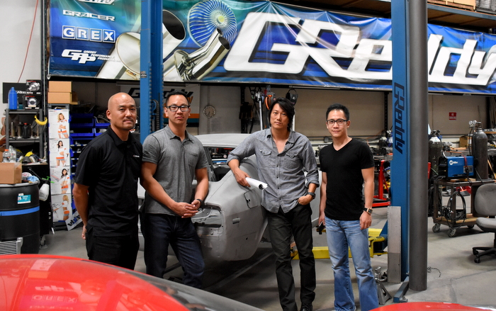 (L-R) GReddy President Kenji Sumino, Greg Hwang, Sung Kang, Michael Jen.