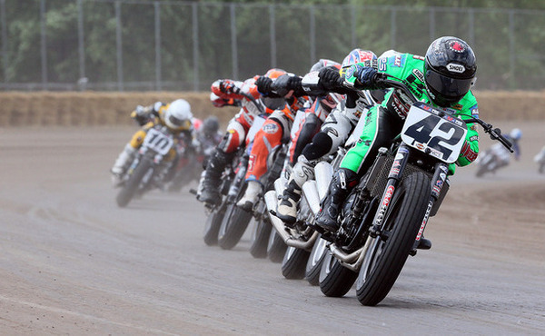 AMA Pro Flat Track riders drafting