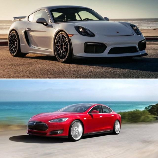 6SpeedOnline.com Porsche Cayman GT4 race Tesla Model S