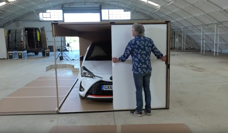 James May takes his sweet time unboxing a car.