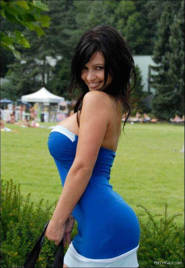 Denise Milani in Blue Dress